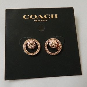 COACH Pave Halo Stud Earrings in Rose-Gold NWTs
